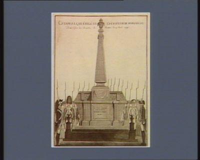 Cataphalque érigé en l'honneur de Mirabeau, dans l'eglise des Augustins de Rennes le 15 avril 1791 il vécut toujours pour le peuple et mourut au milieu de lui : [estampe]