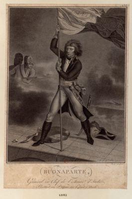 Buonaparte, général en chef de l'armée d'Italie plantant un drapeau sur le pont d'Arcole [estampe]