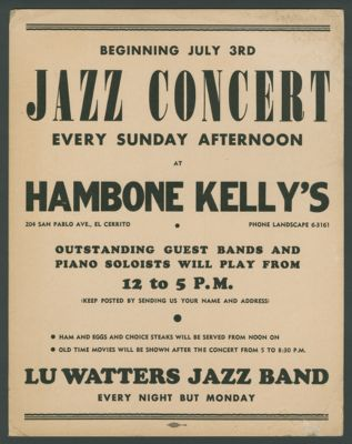 Poster: Jazz Concert Every Sunday at Hambone Kelly's with Lu Watters' Jazz Band