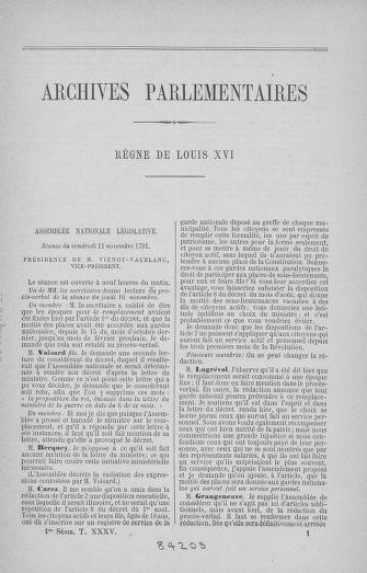 Tome 35 : Du 11 novembre au 10 décembre 1791 - page 1
