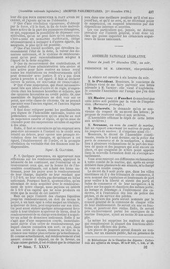 Tome 35 : Du 11 novembre au 10 décembre 1791 - page 497