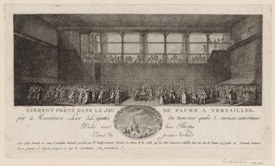 Serment preté dans le <em>Jeu</em> <em>de</em> <em>Paume</em> à Versailles par Messieurs les députés du Tiers aux quels 5 curés se sont réunis, dédié aux bons patriotes... : [estampe]