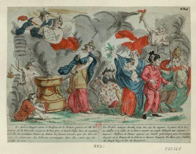 La  Rousse <em>royale</em> enleve le dauphin de la France presse sur elle les serpens de la discorde et pousse le bon gros et lourd papa hors de sa patrie le demon des grandeurs l'amuse en chemin lui faisant accroire que des vessies sont des lanternes... : [estampe]
