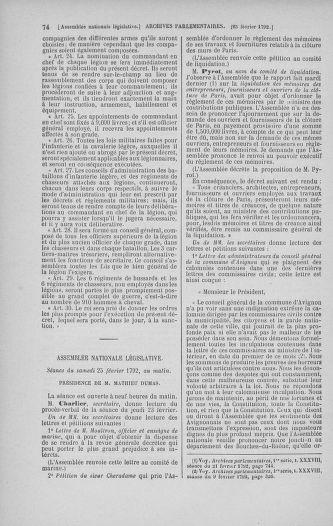 Tome 39 : Du 22 février au 14 mars 1792 - page 74