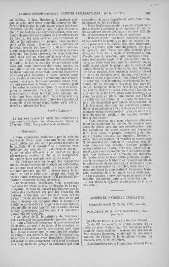 Tome 39 : Du 22 février au 14 mars 1792 - page 103