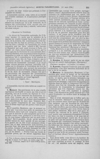 Tome 39 : Du 22 février au 14 mars 1792 - page 255