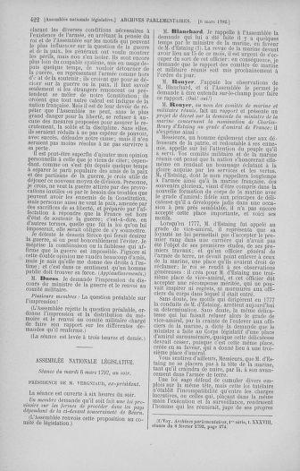 Tome 39 : Du 22 février au 14 mars 1792 - page 422