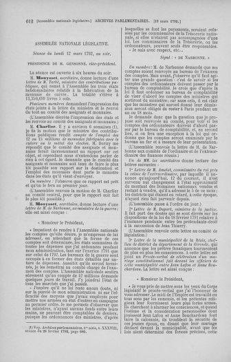 Tome 39 : Du 22 février au 14 mars 1792 - page 612