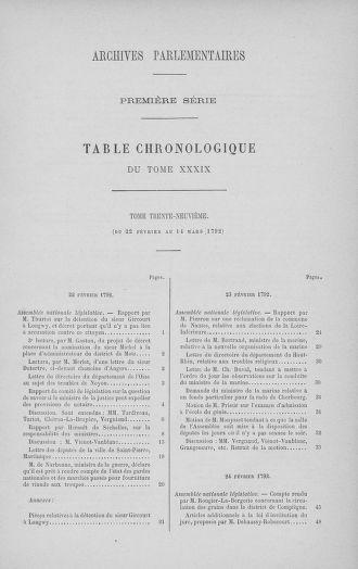 Tome 39 : Du 22 février au 14 mars 1792 - page ..