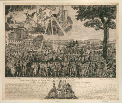 La  Revolution française, Arrivée sous le Regne de Louis XVI le 14 Juillet 1789 Dédiée aux Amis de la Constitution Du haut du Ciel, le voile soulevé par le Patriotisme... : [estampe]