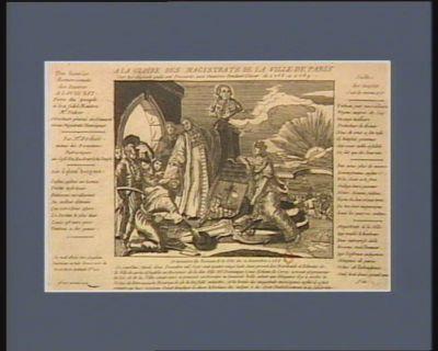 A la gloire des magistrats de la ville de Paris sur les secours qu'ils ont procurés aux pauvres pendant l'hiver de 1788 à 1789 ordonnance du bureaux de la ville du 2 decembre 1788. Ce jourd'hui mardi deux decembre 1788, nous, provot des marchands et echevins de la ville de Paris assembles au bureaux de la dite ville... : [estampe]