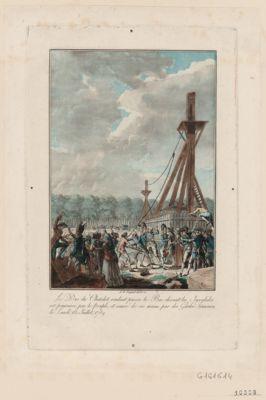 Le  Duc du Chatelet voulant passer le bac devant les Invalides est poursuivi par le peuple, et sauvé de ses mains par des gardes françaises, le lundi 13 juillet 1789 [estampe]