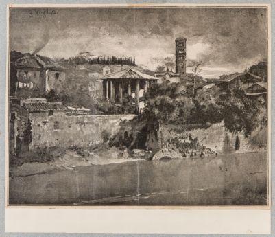 Cloaca Massima e tempio di Vesta veduti dal Tevere prima della costruzione dei muraglioni