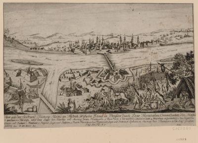 """Ueber gab der Stadt und Fästung May""""ns an Fridrich Wilhelm König Preissen durch Doire Französichen Comandanten von May""""ns so geschäen 22 Juli 1793 [estampe]"""