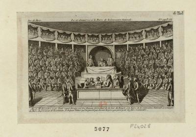 Le  Ci-devant roi à la barre de la Convention nationale mardi XI décembre <em>1792</em>, Louis Capet dernier roi des Français fut traduit de la tour du Temple... : [estampe]