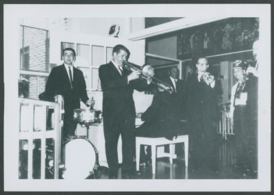 Turk Murphy Jazz Band at Shriner's Hospital: Thad Vandon, Turk Murphy, Pete Clute, George Pops Foster, Ernie Carson, unknown, and Bob Helm