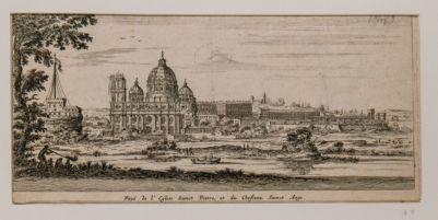 Veduta della chiesa di S. Pietro e Castel S. Angelo