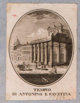 Tempio di Antonino e Faustina, prospetto del pronao con vista della fiancata verso levante
