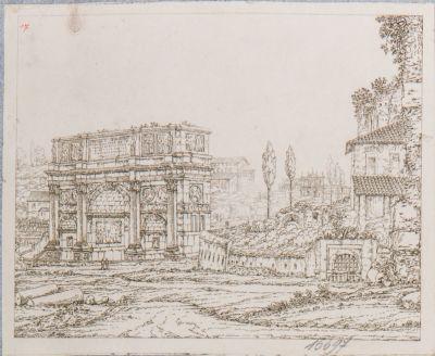 Arco di Costantino, veduta del tempio di Venere e Roma