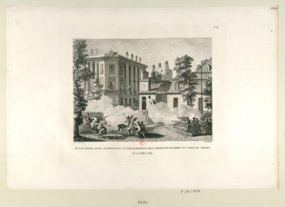 Action entre Royal-Allemand et un détachement des Gardes françaises, en face du depot le 12 juillet 1789 : [estampe]