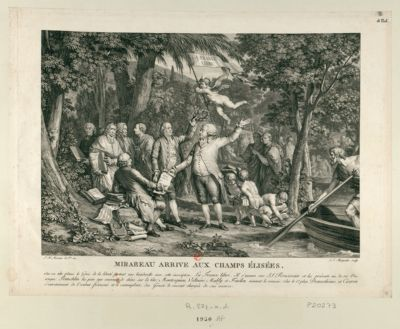 Mirabeau arrive aux Champs Élisées sur sa tête plane le génie de la liberté portant une banderolle avec cette inscription : la France libre. Il s'avance vers J.J. <em>Rousseau</em> et lui présente un de ses ouvrages... : [estampe]
