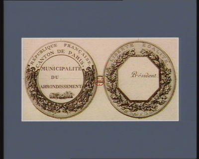 République française Liberté égalité... : canton de Paris. municipalité du [...] arrondissement : [estampe]