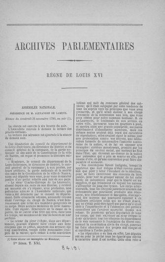 Tome 21 : Du 26 novembre 1790 au 2 janvier 1791 - page ..