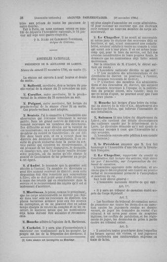 Tome 21 : Du 26 novembre 1790 au 2 janvier 1791 - page 38