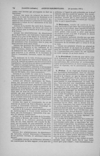 Tome 21 : Du 26 novembre 1790 au 2 janvier 1791 - page 74