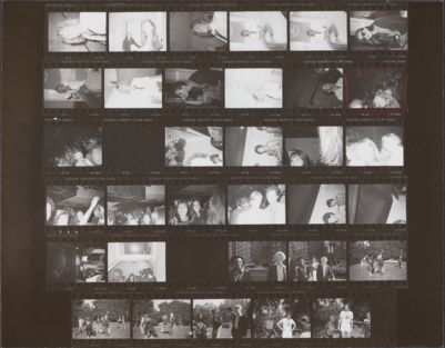 [At Halston's and at Studio 54 (?), Catherine Guinness, Carole Bouquet, bartenders, dancers; Andy Warhol, Grace Jones, Bill Boggs promoting a charity run in Central Park]