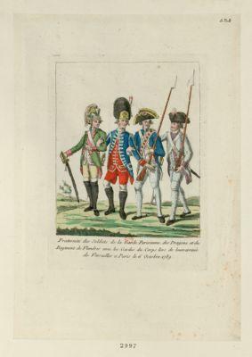 Fraternité des soldats de la Garde parisienne, des Dragons et du Régiment de Flandres avec les Gardes du corps lors de leurs arrivée de <em>Versailles</em> à Paris le 6 octobre <em>1789</em> [estampe]