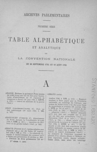 Tome 71 : Table alphabétique et analytique des séances de la Convention nationale du 20 septembre 1792 au 10 août 1793 (1ère partie : de A à K) - page ..