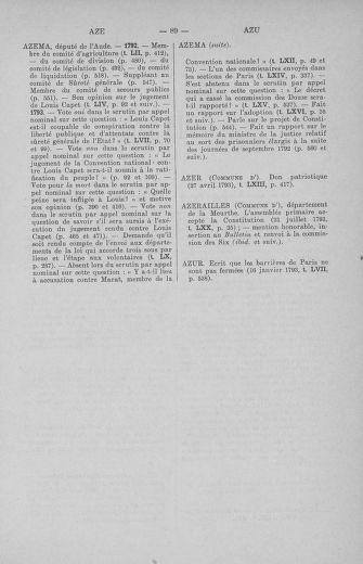 Tome 71 : Table alphabétique et analytique des séances de la Convention nationale du 20 septembre 1792 au 10 août 1793 (1ère partie : de A à K) - page 89