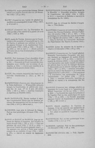 Tome 71 : Table alphabétique et analytique des séances de la Convention nationale du 20 septembre 1792 au 10 août 1793 (1ère partie : de A à K) - page 91