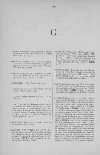 Tome 71 : Table alphabétique et analytique des séances de la Convention nationale du 20 septembre 1792 au 10 août 1793 (1ère partie : de A à K) - page 206