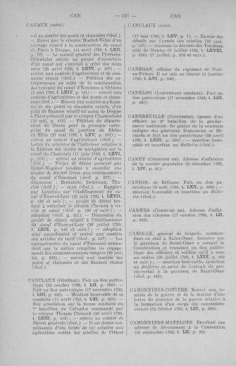 Tome 71 : Table alphabétique et analytique des séances de la Convention nationale du 20 septembre 1792 au 10 août 1793 (1ère partie : de A à K) - page 226