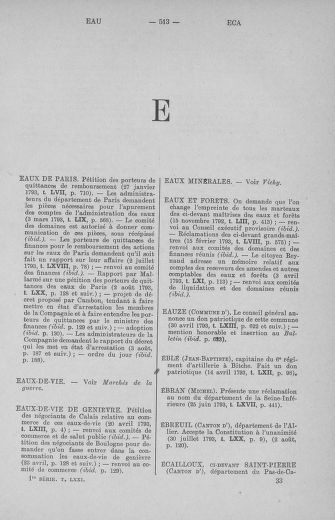 Tome 71 : Table alphabétique et analytique des séances de la Convention nationale du 20 septembre 1792 au 10 août 1793 (1ère partie : de A à K) - page 513