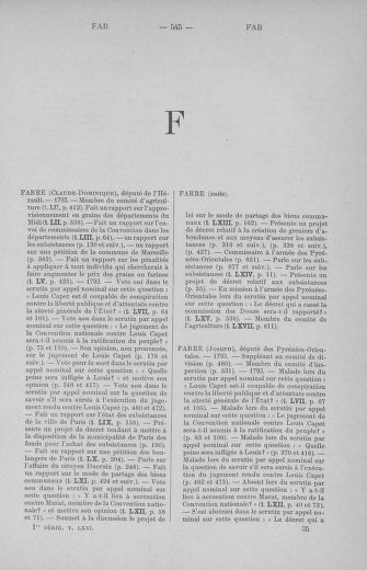 Tome 71 : Table alphabétique et analytique des séances de la Convention nationale du 20 septembre 1792 au 10 août 1793 (1ère partie : de A à K) - page 545