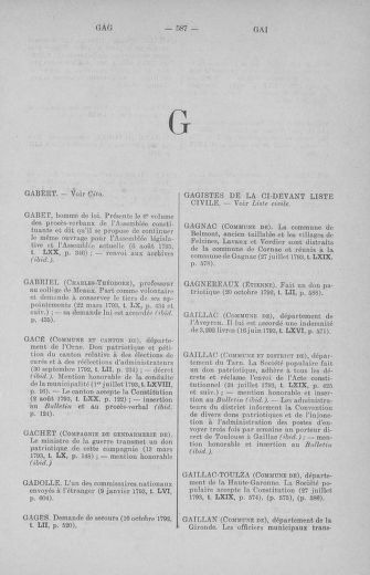 Tome 71 : Table alphabétique et analytique des séances de la Convention nationale du 20 septembre 1792 au 10 août 1793 (1ère partie : de A à K) - page 587