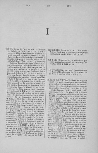 Tome 71 : Table alphabétique et analytique des séances de la Convention nationale du 20 septembre 1792 au 10 août 1793 (1ère partie : de A à K) - page 681