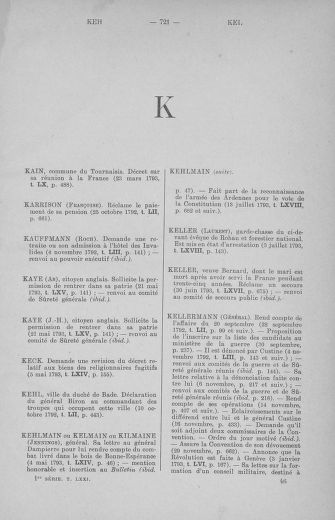 Tome 71 : Table alphabétique et analytique des séances de la Convention nationale du 20 septembre 1792 au 10 août 1793 (1ère partie : de A à K) - page 721