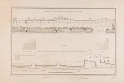 Marmorata, resti dell'emporio e progetto di sistemazione, prospetto, pianta e sezioni