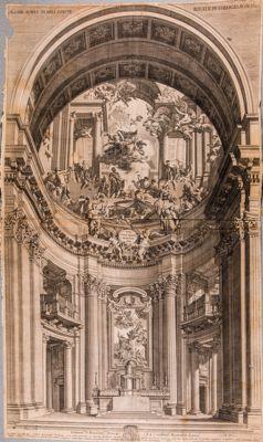 Chiesa di S. Ignazio, altare maggiore (dall'affresco di P. Pozzo)