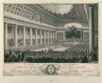 Ouverture des Etats Généraux à Versailles, le 5 mai 1789 présentée et dédiée à l'Assemblée Nationale, le 4 mai 1790, par Helman,... : [estampe]