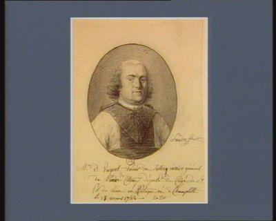 Mr D. Verguet prieur de Rellecq, vicaire général de l'ordre de Citeaux député du clergé de S.t Pol de Léon en Bretagne, né à Champtille le 28 mars 1744 : [dessin]
