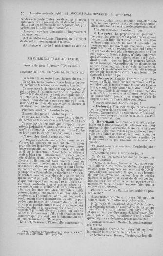 Tome 37 : Du 2 au 28 janvier 1792 - page 76