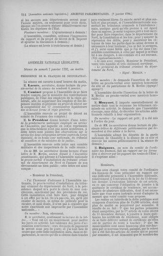 Tome 37 : Du 2 au 28 janvier 1792 - page 114