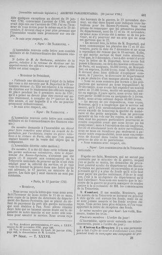 Tome 37 : Du 2 au 28 janvier 1792 - page 481