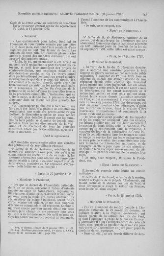 Tome 37 : Du 2 au 28 janvier 1792 - page 713