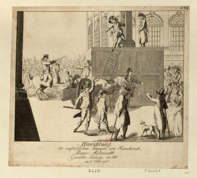 Hinrichtung der unglüchlichen Königin von Franckreich Marie Antoinette gemahlin Ludwigs des XVI am 16 Octbr.<em>1793</em> : [estampe]